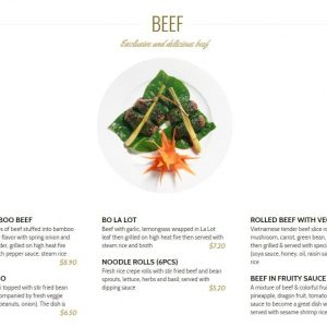 Essence Restaurant Hanoi menu
