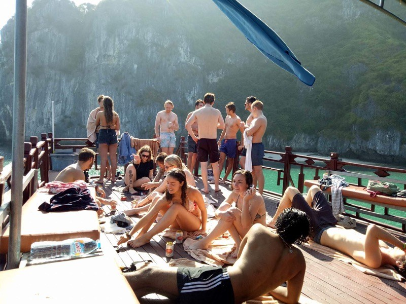 Go on a Halong Bay cruise with friends