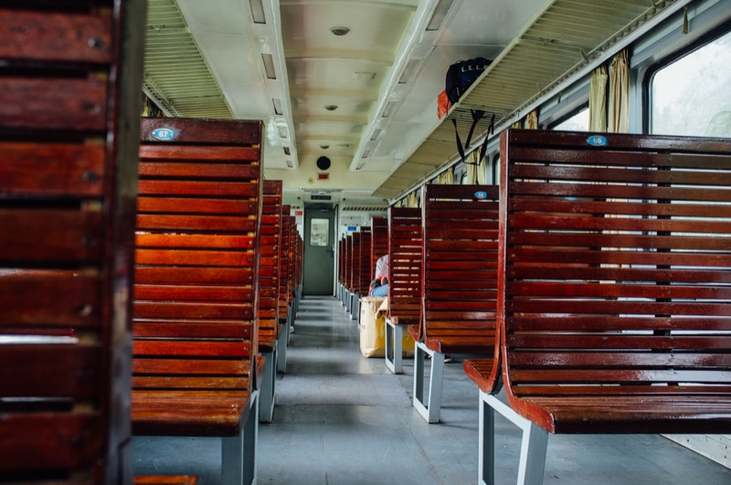 Hard seat on train