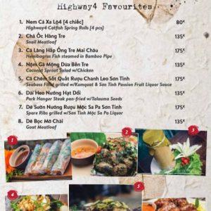 Highway 4 menu