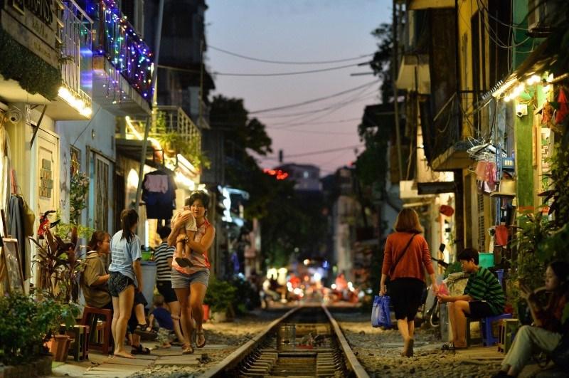 Nightlife on Hanoi train street