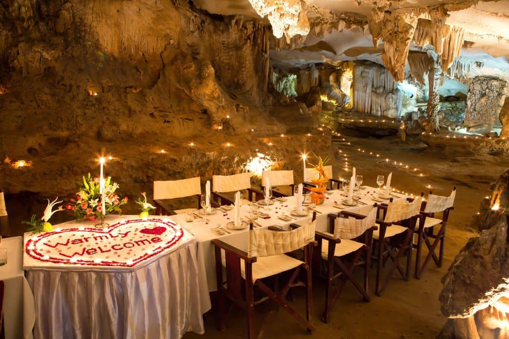 your cave dinner in Halong Bay